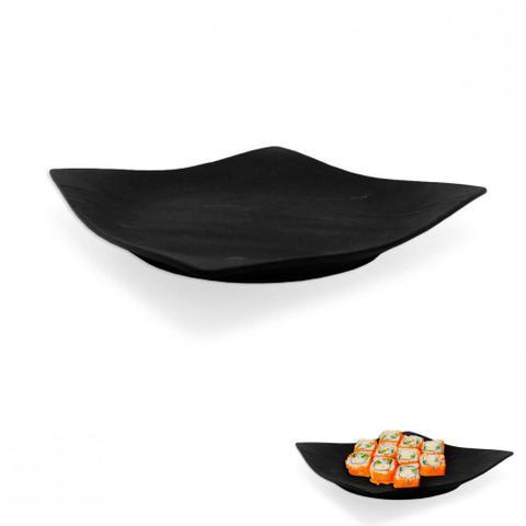 Imagem de Prato Quadrado em Melamina para Sushi 22,5 Cm Preto  Utilgoods