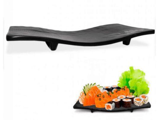 Imagem de Prato travessa de melamina retangular para sushi black