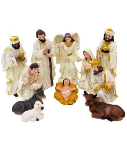 Imagem de Presépio Com 11 Peças 13cm Altura Bege e Dourado Resina