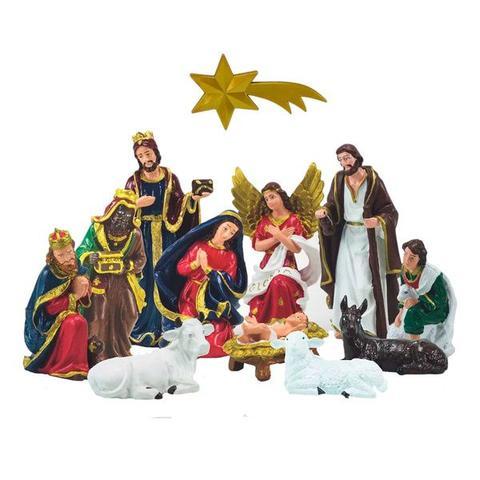 Imagem de Presépio de 12 peças em látex pintadas a mão - inquebrável