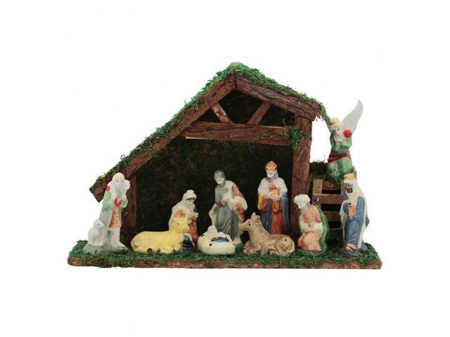 Imagem de Presépio Porcelana 10 Figuras 9cm e Casa 31cm - Magizi