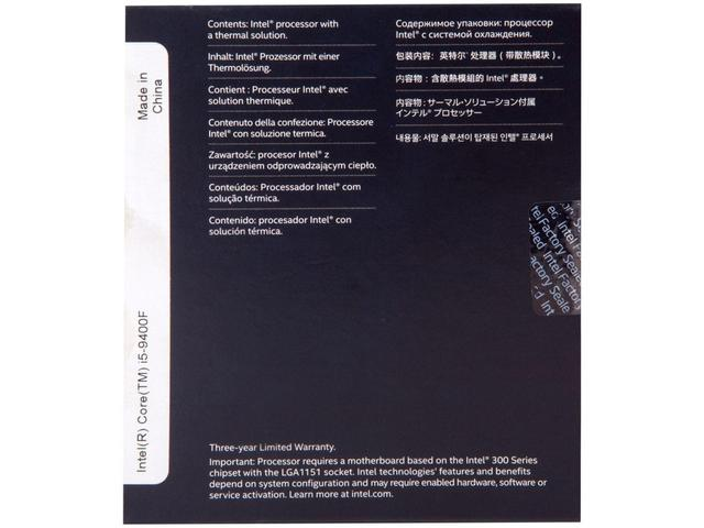 Imagem de Processador Intel Core i5 9400F 2.90GHz - 4.10GHz Turbo 9MB