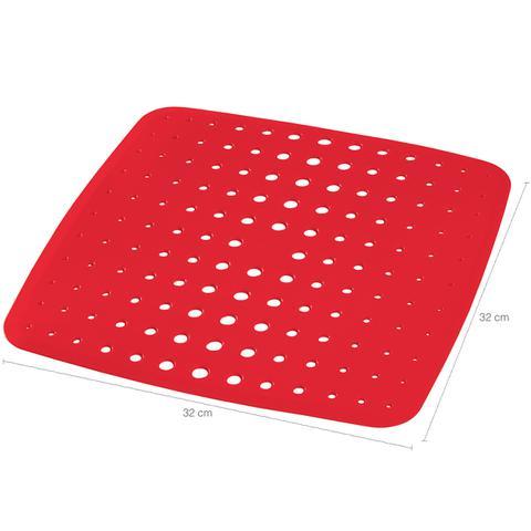 Imagem de Protetor De Pia Para Lavar Louças Prato Panela Pvc Aderência Vermelho