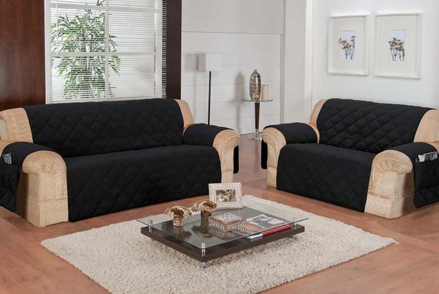Imagem de Protetor de sofá 2 e 3 lugares face unico confort preto