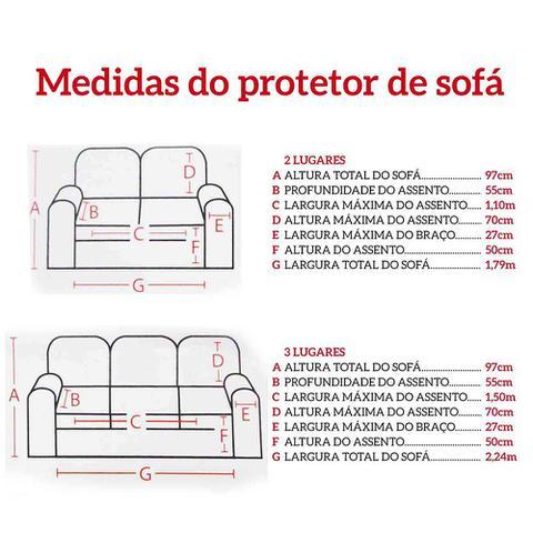 Imagem de Protetor de Sofá 3 e 2 Lugares Preto - Juma