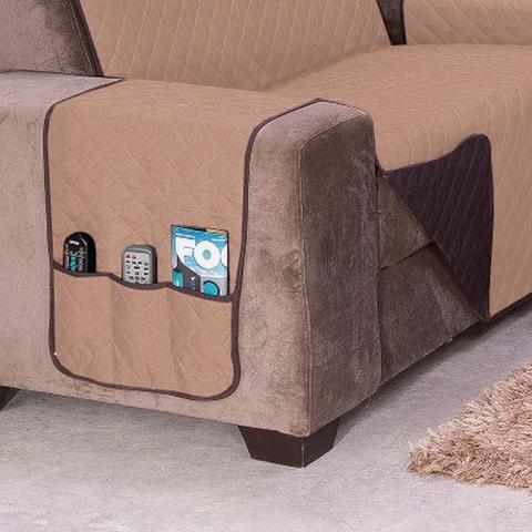 Imagem de Protetor de Sofá Impermeável Kit para 2 e 3 Lugares Dupla Face Tecido Microfibra - Caqui/Tabaco