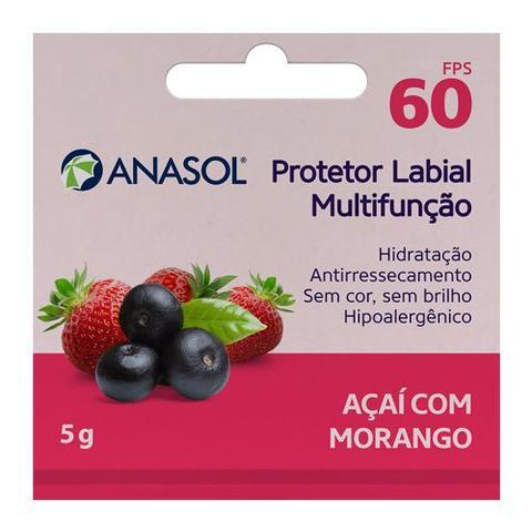 Imagem de Protetor Hidratante Labial Açaí Com Morango FPS60 Anasol