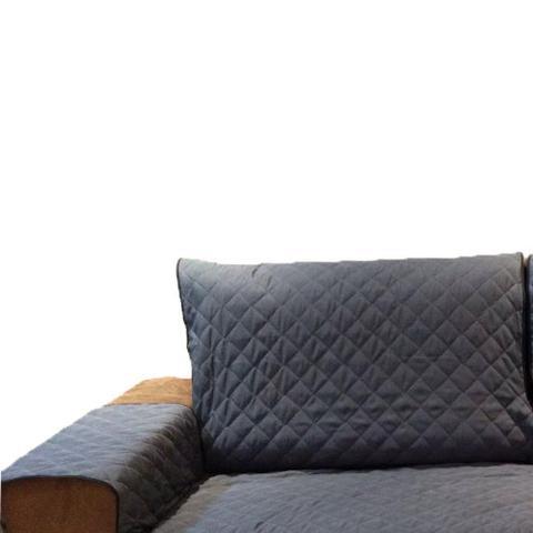 Imagem de Protetor Para Sofá De 2 Módulos Microfibra Matelado Retrátil Reclinável com Assento De 2,70M - Chumbo