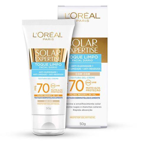 Imagem de Protetor Solar LOréal Paris Solar Expertise Facial Toque Limpo com Cor FPS 70