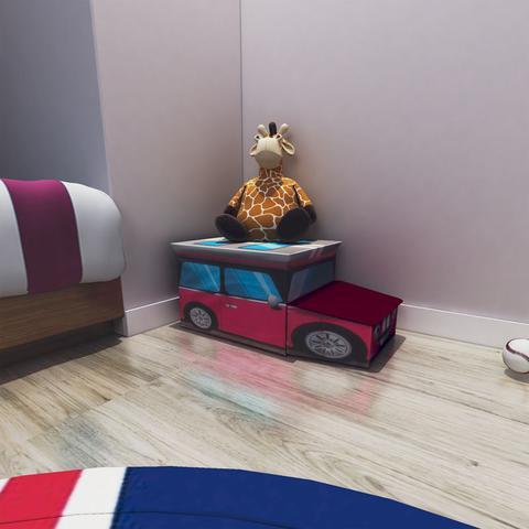 Imagem de Puff Bau Organizador de Brinquedos Infantil Carro Rosa