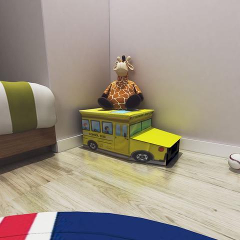 Imagem de Puff Bau Organizador de Brinquedos Infantil Onibus