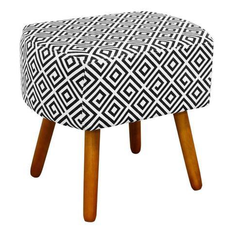 Imagem de Puff Decorativo Curvo Agatha Estampado Quadrado Preto D64 - D'Rossi