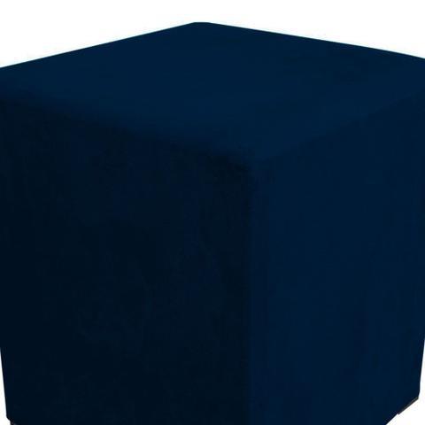 Imagem de Puff Decorativo Dado Quadrado Suede Azul Marinho - D'Rossi