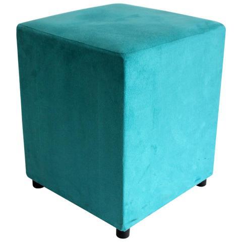 Imagem de Puff Decorativo Quadrado Suede Azul Turquesa