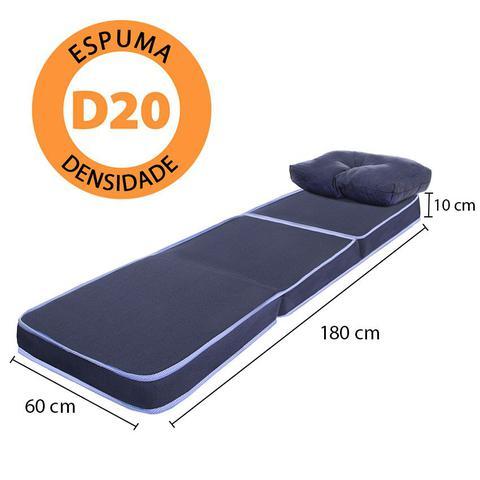Imagem de Puff Multiuso 3 em 1 Solteiro Azul com Travesseiro