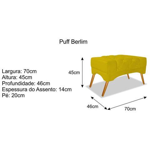Imagem de Puff Puf Pufe Pufinho Berlin Pés Palito Capitonê Suede Amarelo para Recepção Sala de Estar Quarto - DS Decor