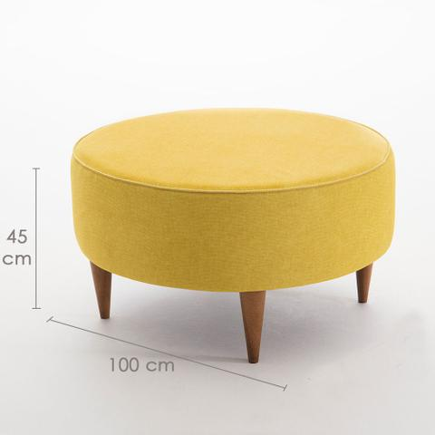 Imagem de Puff Redondo Elegância em Veludo Ideal para Sala e Quarto 100cm - Pés em Madeira Maciça
