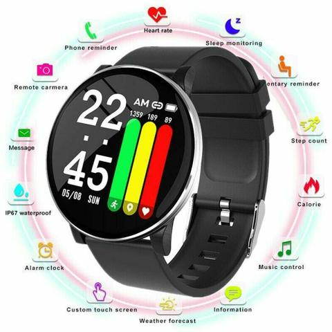 Imagem de Pulseira Inteligente Relogio Smartwatch Display Redondo W8  + Mini Fone De Ouvido Sem Fio Bluetooth V4.0