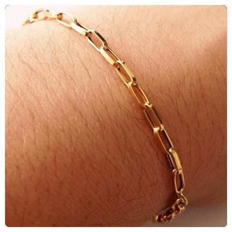 Imagem de Pulseira Masculina Ouro Amarelo Elo Cadeado Ouro 18k