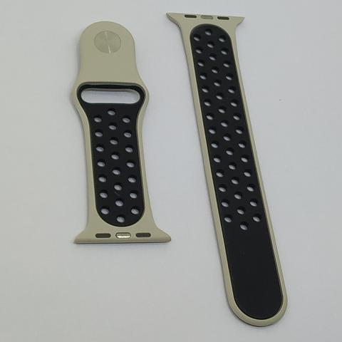 Imagem de Pulseira Smartwatch esportiva 42 a 44 mm emborrachado - Creme e Preto