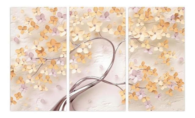 Imagem de Quadro Árvore Flores Cerejeira Tons De Amarelo E Laranja