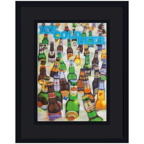 Imagem de Quadro com Moldura Preta 3D Cervejas Geladas 75x95cm