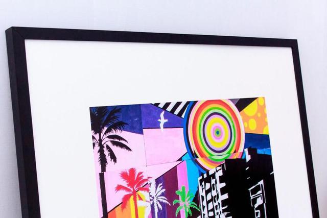Imagem de Quadro com Moldura Preta Cidade Abstrata Colorida 80x80cm