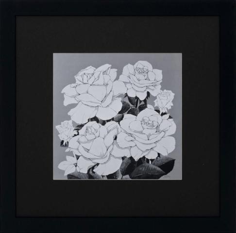 Imagem de Quadro com Moldura Preta de Flores em Preto e Branco 90x90cm DP0128