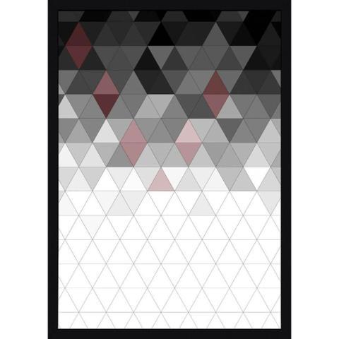 Imagem de Quadro com Moldura Preta Decorativo Arte Geométrica Colorida 50x70cm