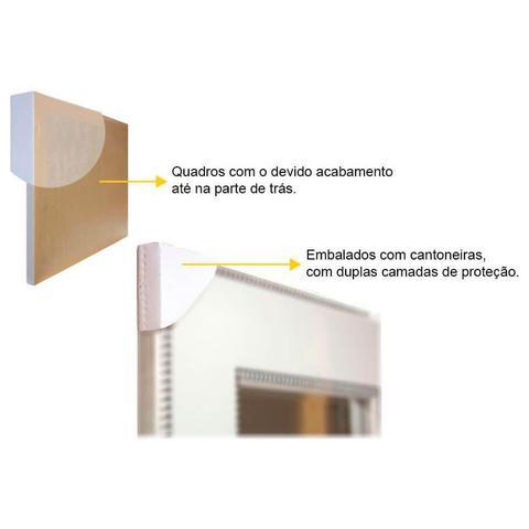 Imagem de Quadro com Moldura Preta Decorativo Arte Geométrica em Preto e Branco 50x70cm