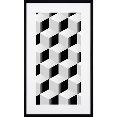 Imagem de Quadro com Moldura Preta Desenho Geométrico Quadrados em Preto e Branco 50x90cm