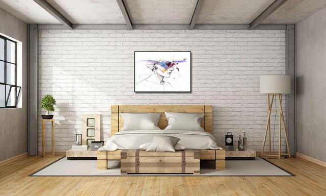 Imagem de Quadro com Moldura Preta Desenho Mulher Aquarela 140x100cm
