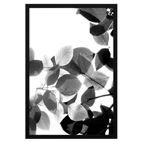 Imagem de Quadro com Moldura Preta Floral em Preto e Branco 60x90cm
