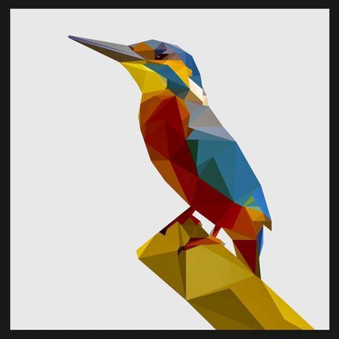 Imagem de Quadro com Moldura Preta Ilustração Pica-pau Geométrico 80x80 cm
