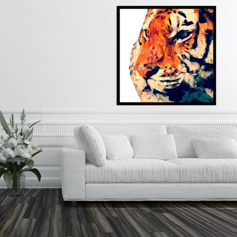 Imagem de Quadro com Moldura Preta Ilustração Tigre Geométrico 80x80 cm