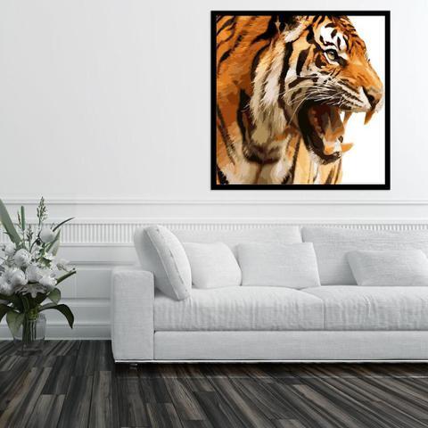 Imagem de Quadro com Moldura Preta Tigre Rugindo 80x80 cm