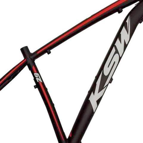 Imagem de Quadro de Bicicleta Aro 29 KSW XLT Alumínio Tamanho 17 Preto com Vermelho e Branco