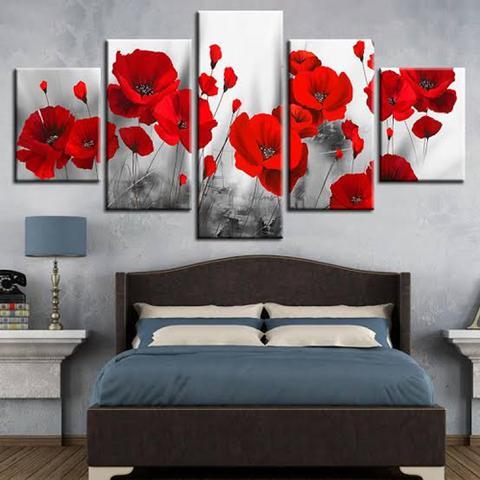 Imagem de Quadro de decorativo mosaico flores vermelhas