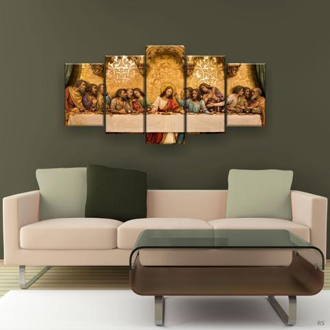 Imagem de Quadro Decorativo A Última Santa Ceia Gold Hd 129x61