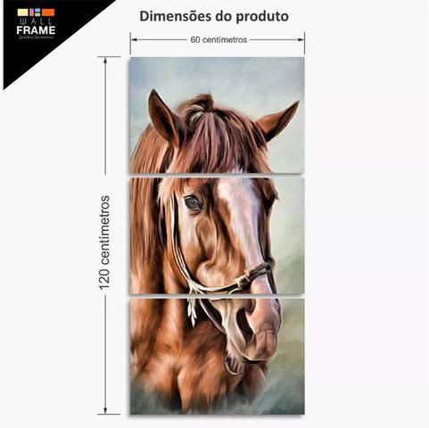 Imagem de Quadro Decorativo Cavalo Artístico Mosaico 3 Peças 120x60