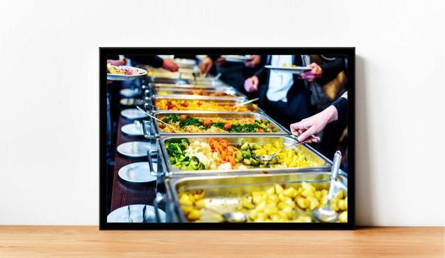 Imagem de Quadro Decorativo Gourmet Prato Buffet Restaurantes Self-Service Com Moldura RC71