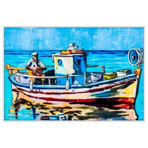 Imagem de Quadro Decorativo Grande com Moldura Branca Barco de Pesca Colorido 150x100cm