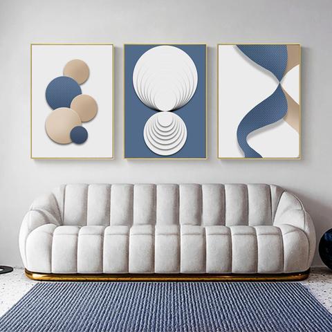 Imagem de Quadro decorativo Moderno abstrato poster azul ouro branco geométrico
