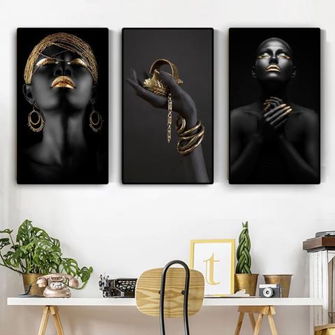 Imagem de Quadro decorativo mosaico 3 peças decoração 3 painéi de mão preta africano nude contemplador