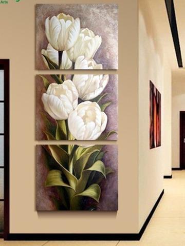 Imagem de Quadro Decorativo Mosaico 3 Peças Tulipas Brancas..