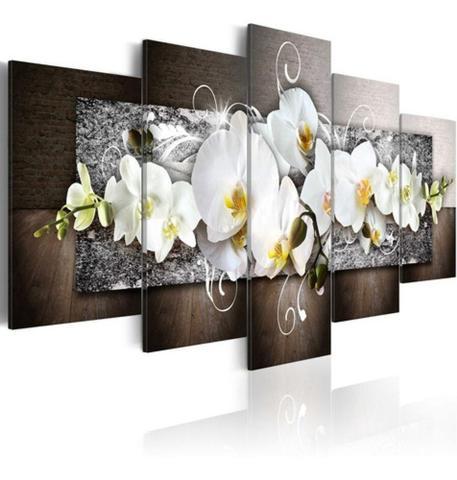 Imagem de Quadro Decorativo Mosaico 5 Peças Orquídea Branca Mural