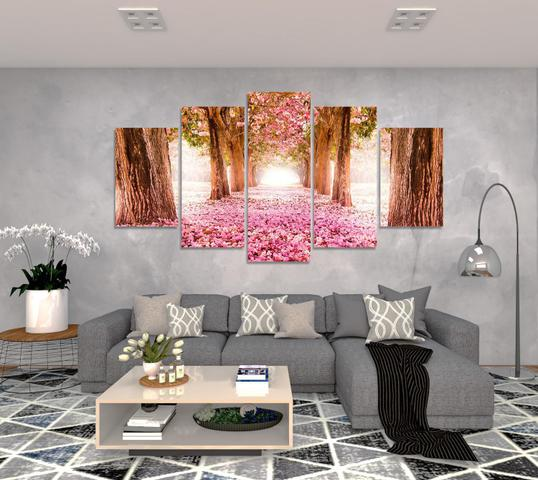Imagem de Quadro Decorativo Para Sala Casa Arvore Cerejeira Rosa