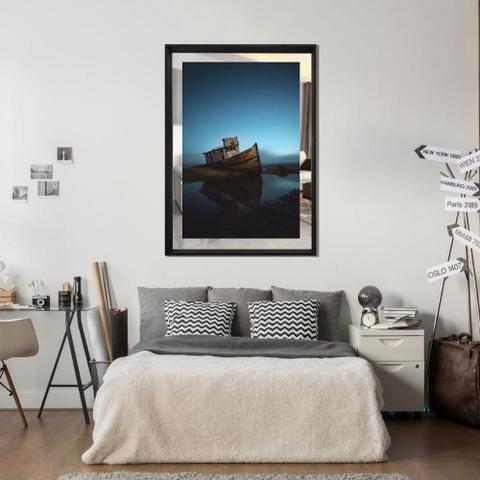 Imagem de Quadro em Tela Paisagem Barco Com Espelho e Moldura Preta 80x110cm