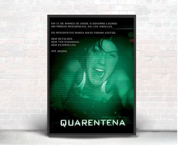 Imagem de Quadro Emoldurado Poste Quarentena Terror Classico Guerracom Vidro