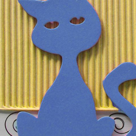 Imagem de Quadro Gato Uniart Azul 30x30cm